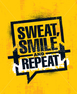 Plakat Pot, uśmiech i powtórz. Inspirujące trening fitness i fitness motywacja cytat ilustracja znak. Twórczy silnego sporta z wykorzystaniem Szorstkiej typografii Grunge tapety plakata pojęcie