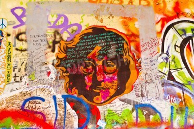 Plakat PRAGUE, CZECH REPUBLIC - SEPTEMBER 11, 2014: Famous John Lennon Wall on Kampa Island in Prague is filled with Beatles inspired graffiti and pieces of lyrics since the 1980s. Graffities are drawn on da