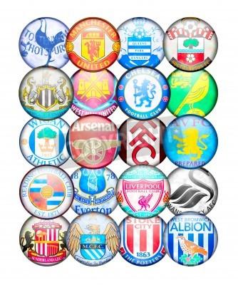 Plakat Premier League Drużyny 2012/13: Kolory i odznaczenia angielskich klubów piłkarskich