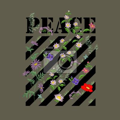 Projektowanie haftów mody w stylu Vector. Haftowane kwiatowy wzór z linii.