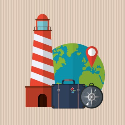 Plakat projektowanie ikon podróży