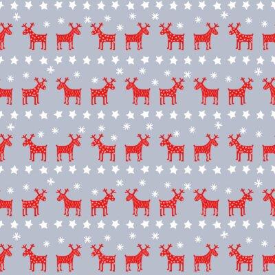Plakat Proste retro szwu Boże Narodzenie - renifery Xmas, gwiazd i płatki śniegu. Szczęśliwego Nowego Roku w tle. Wektora projektu na zimowe wakacje na szarym tle.