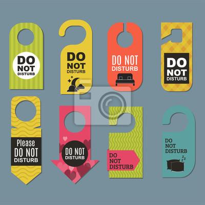 Plakat Proszę nie przeszkadzać hotel drzwi cichy motel usługi pokoju koncepcji prywatności kartę zawiesić wiadomość.