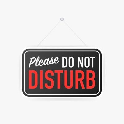 Plakat Proszę nie przeszkadzać wiszące znak na białym tle. Znak do drzwi. Ilustracji wektorowych.