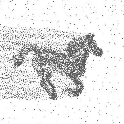 Plakat Prowadzenie konia wykonane z cząstek. Przerywana tle. Wektor