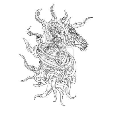 przerażające, mistyczny jednorożec z dużą ilością rogów
