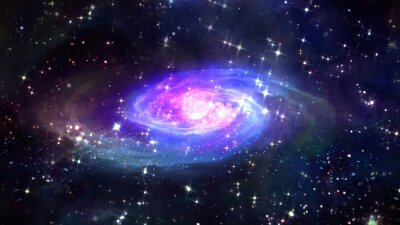 Plakat Przestrzeń niebieska galaktyka w przestrzeni.