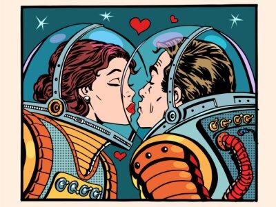 Plakat Przestrzeń pocałunek mężczyzna i kobieta astronautów
