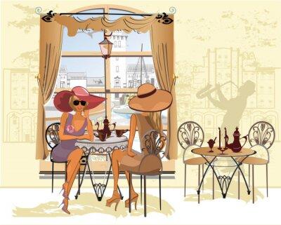 Plakat Przyjaciele w kawiarni picia kawy.
