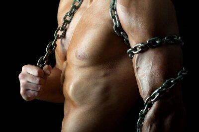 Plakat Przystojny i muskularny facet z łańcuchem