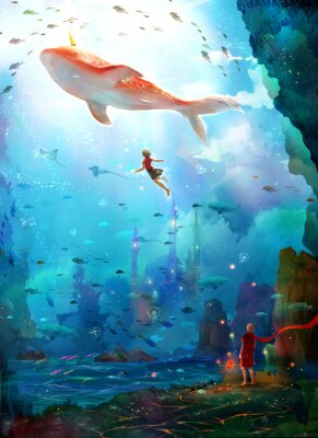 Plakat Pure, literary, small and fresh, illustrations, beautiful women, girls, girls, fairy tales, dreams, fantasies, dreams, cities, castles, seabed, whales, deep sea, girls, schools of fish, oceans,