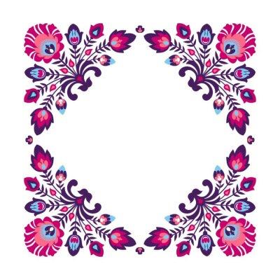 Plakat Purpurowy folk floral