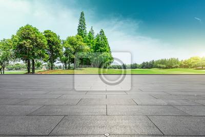 Plakat Pusta kwadratowa podłoga i zielonych drzew naturalny krajobraz