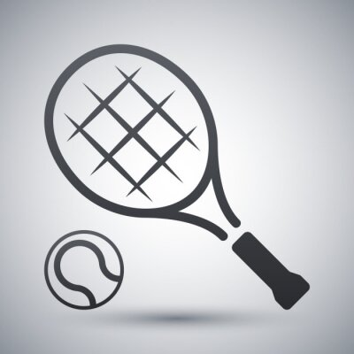 Plakat Rakieta tenisowa i piłka tenis, ikona wektor