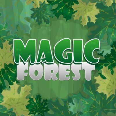 Plakat Ramka do dekoracji tekstu. Zaczarowany las z zielonym liściem klonu - kreskówka