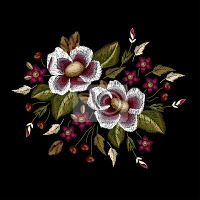 Ramki kwiatów haftu wektora poprawki