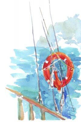 Plakat ratunkowe ocean morze Akwarele ilustracji
