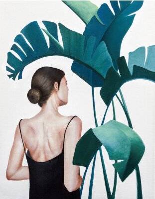 Plakat realistic acrylic painting of woman with green plants