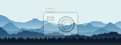 Plakat Realistyczna ilustracja góra krajobraz z wzgórzem i lasem z iglastymi drzewami pod błękitnym zimy niebem z przestrzenią dla teksta, wektor
