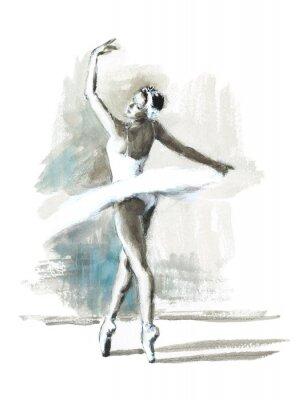 Plakat Ręcznie malowane akwarela Ballerina Baletnica Ilustracja