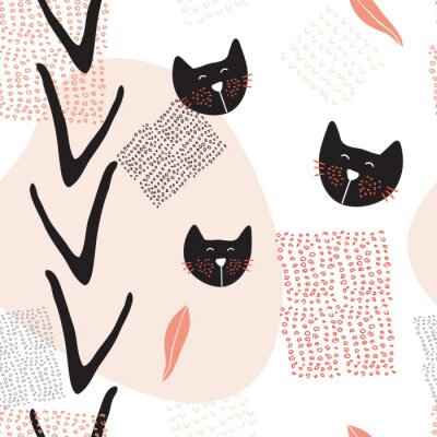 Plakat Ręcznie rysowane abstrakcyjne bezszwowe tło wzór z cute kotów