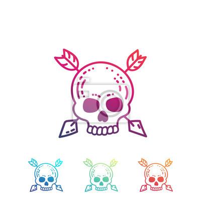 Ręcznie rysowane czaszki ze strzałkami samodzielnie na białym tle