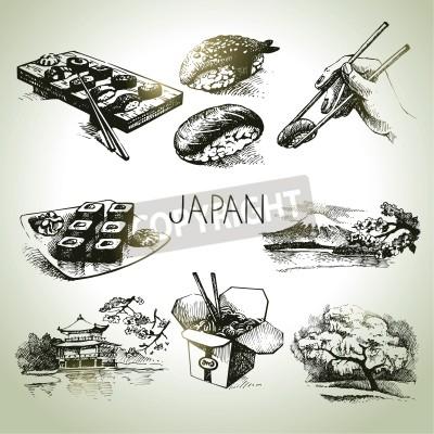 Plakat Ręcznie rysowane rocznika japoński zestaw