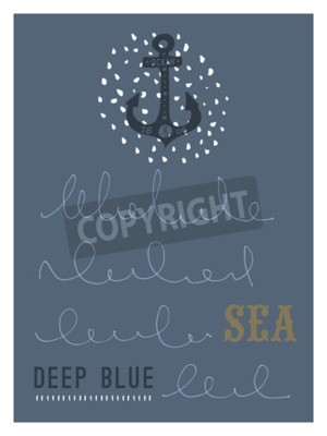 Plakat Ręcznie rysowane rocznika morskie kartkę z wzorami grunge i faktur. Kotwica. Ta ilustracja może być stosowany jako plakat, ulotki lub karty z pozdrowieniami.