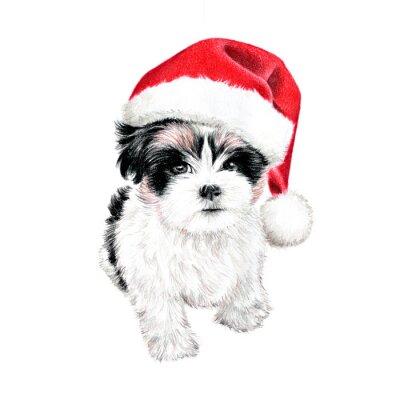 Plakat ręcznie rysowane szczeniak z Santa Claus kapelusz, słodkie zabawy kartki świąteczne cliparty, szkic psa jest kolorowy rysunek ołówkiem, wakacje klip sztuki ilustracji na białym tle