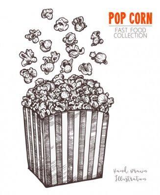 Plakat Ręcznie rysowane szkic popcorn, kino przekąska w wygrawerowanym stylu. Wektorowa ilustracja pełny pudełko z latającą kukurudzą. Symbol fastfoodu, kina, rozrywki. Wektor na białym tle