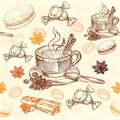 Plakat ręcznie rysowane wzór kawy