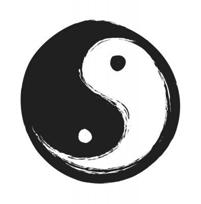 Plakat ręcznie rysowane ying yang symbol harmonii i równowagi, element projektu