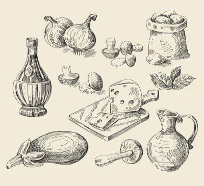 Plakat ręcznie rysowane żywność szkic
