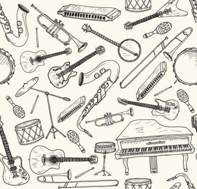 Plakat Ręcznie rysowany instrumenty muzyczne.