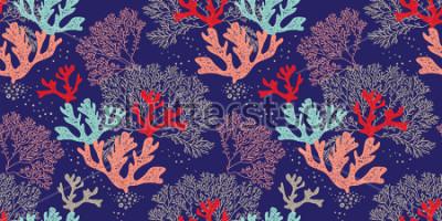 Plakat Ręcznie utworzony wzór wektorowy wzór. Modny wzór z koralowców i alg na niebieskim tle do szycia, tkaniny, tekstylia, produkcja, tapety. Dno morza.