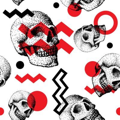 Plakat Ręcznie wykonane ludzkiej czaszki kości czaszki twarzy twarzy retro grunge vintage bez szwu deseń backound