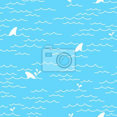 Rekin wieloryb delfin Jednolite wzór Morze Ocean doodle vectorisolated tapeta tło
