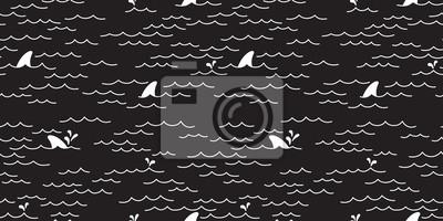 Rekin wieloryb delfin Jednolite wzór Morze Ocean wektor doodle odizolowane tapety tło czarny
