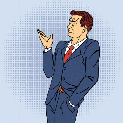 Plakat Reklama Człowiek w stylu pop Ręcznie wskazując na produkt