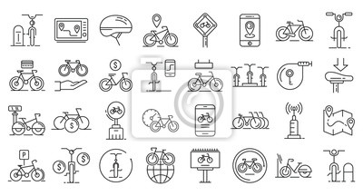 Plakat Rent a bike icons set. Outline set of rent a bike vector icons for web design isolated on white background
