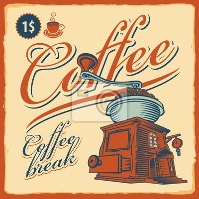 retro banner z młynkiem do kawy - cafe
