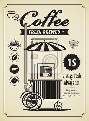 Retro banner z telefonu miejscu sprzedaży kawy