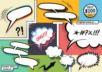 Plakat Retro Comic Speech Bubbles