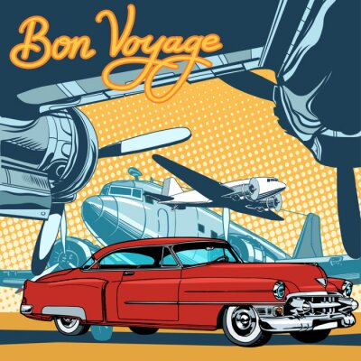 Plakat Retro czerwony samochód na drodze startowej pop art retro stylu