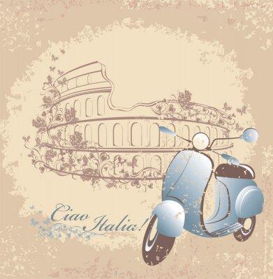 Plakat Retro karty podróży do Włoch. Vintage skuter i Koloseum w Rzymie