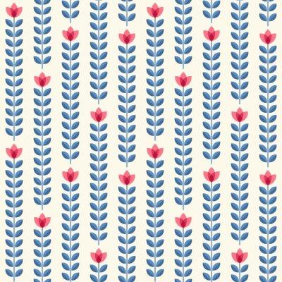 Plakat Retro kwiatowy wzór, kwiaty bez szwu geometryczne
