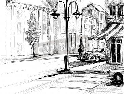 Plakat Retro Miasto szkic, ulica, budynki i stare samochody ilustracji wektorowych, ołówek na papierze stylu