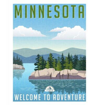 Plakat Retro plakat w stylu podróży lub naklejki. Stany Zjednoczone, Minnesota malownicze jeziora