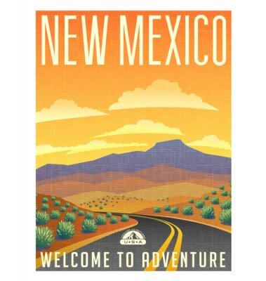 Plakat Retro plakat w stylu podróży lub naklejki. Stany Zjednoczone, Nowy Meksyk pustynny krajobraz górski.