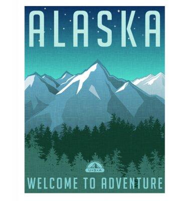 Plakat Retro plakat w stylu serii podróży. Stany Zjednoczone, Alaska górski krajobraz.